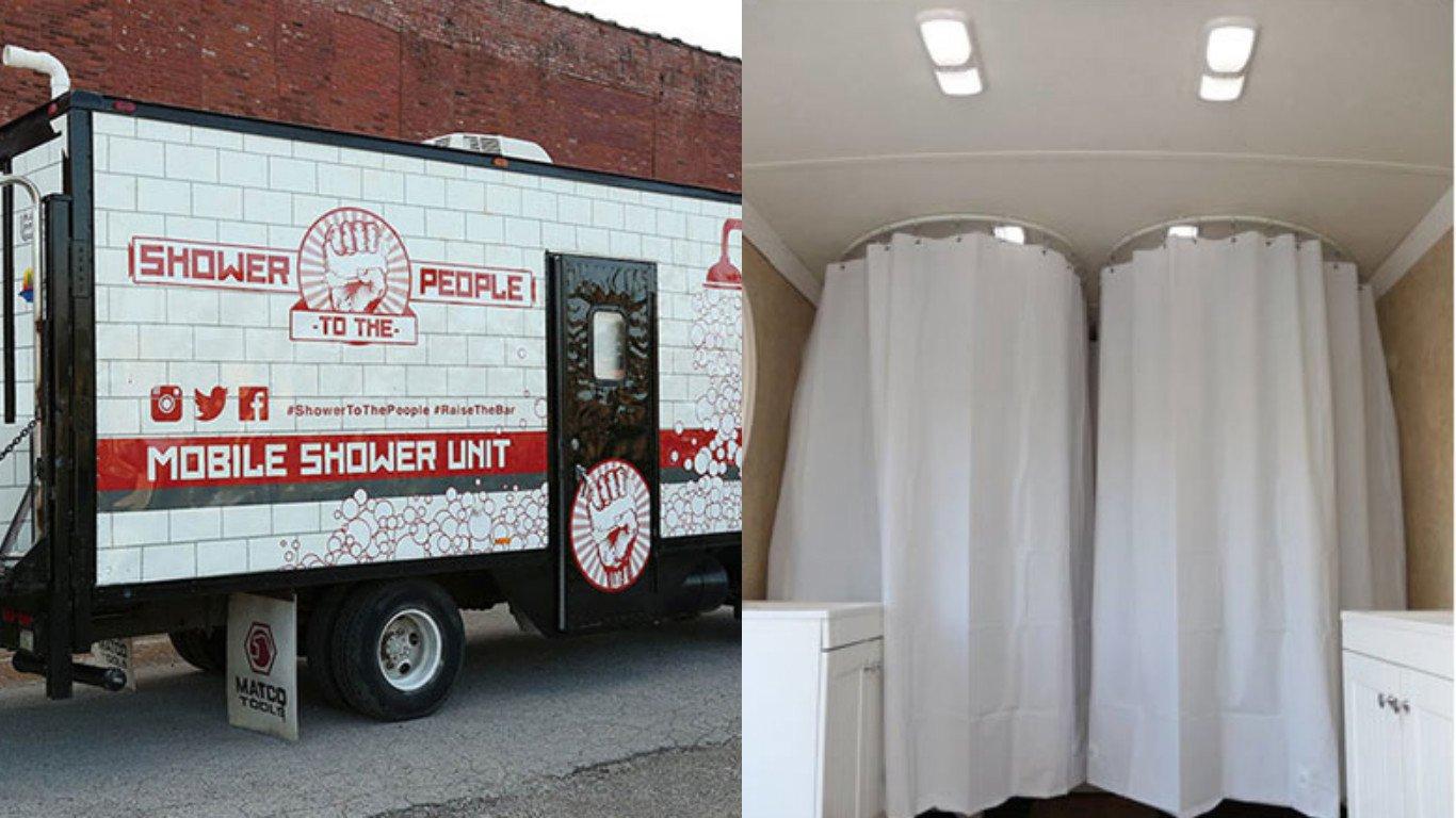 Mobile shower for the homeless: