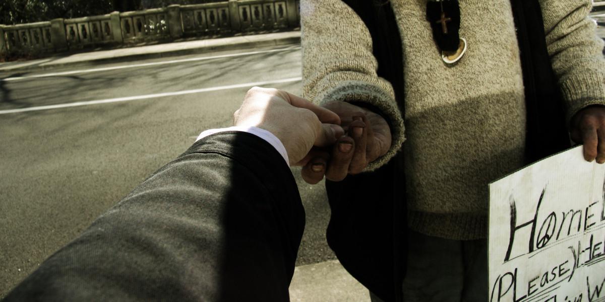 Image result for homeless picking change