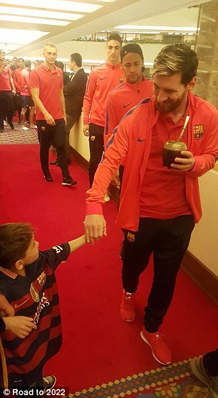 Images captured the moment an Afghan boy who charmed the world with his Lionel Messi carrier bag football shirt finally got to meet his hero