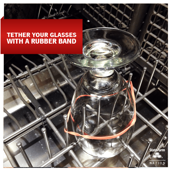 1. Tie your glasses with a rubber band.