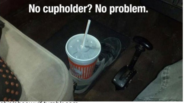 6. Shoe as a cup holder! Now, no need of installing one in the car.