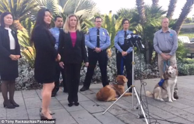 It was announced Wednesday that the former owner of Henry will be arraigned on charges of animal cruelty in January. Henry appeared at the press conference with another dog, who had also been mistreated