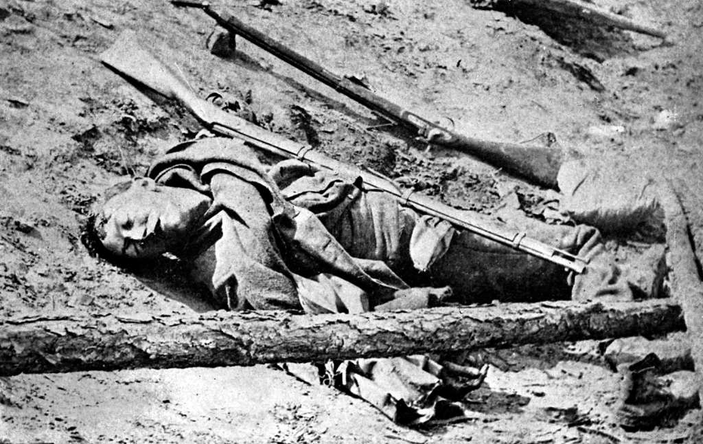 Dead soldier lying in the road at Fredericksburg, Virginia, American Civil War, 3 May 1863. Photo: Print Collector/Getty Images / Ann Ronan Picture Library / Heritage Images