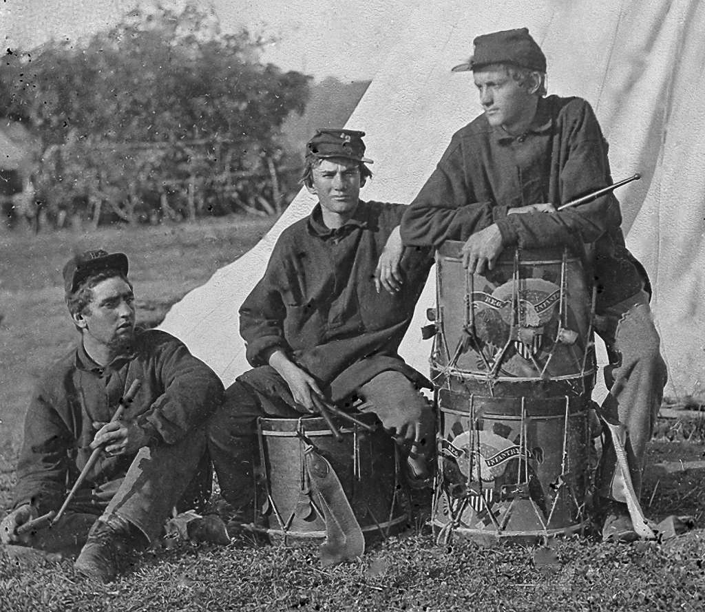Field Band of the 2nd Rhode Island Infantry; Music played a big part on both sides of the conflict: On the battlefield, different instruments - bugles, drums, and fifes were played to issue marching orders or sometimes simply to boost the morale. Soldiers of both sides often engaged in recreation with musical instruments, and when the opposing armies were near each other, sometimes the bands from both sides of the conflict played against each other on the night before a battle. Photo: Getty Images