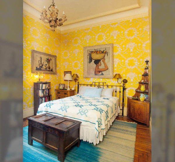 Yellow Walls In The Guest Bedroom