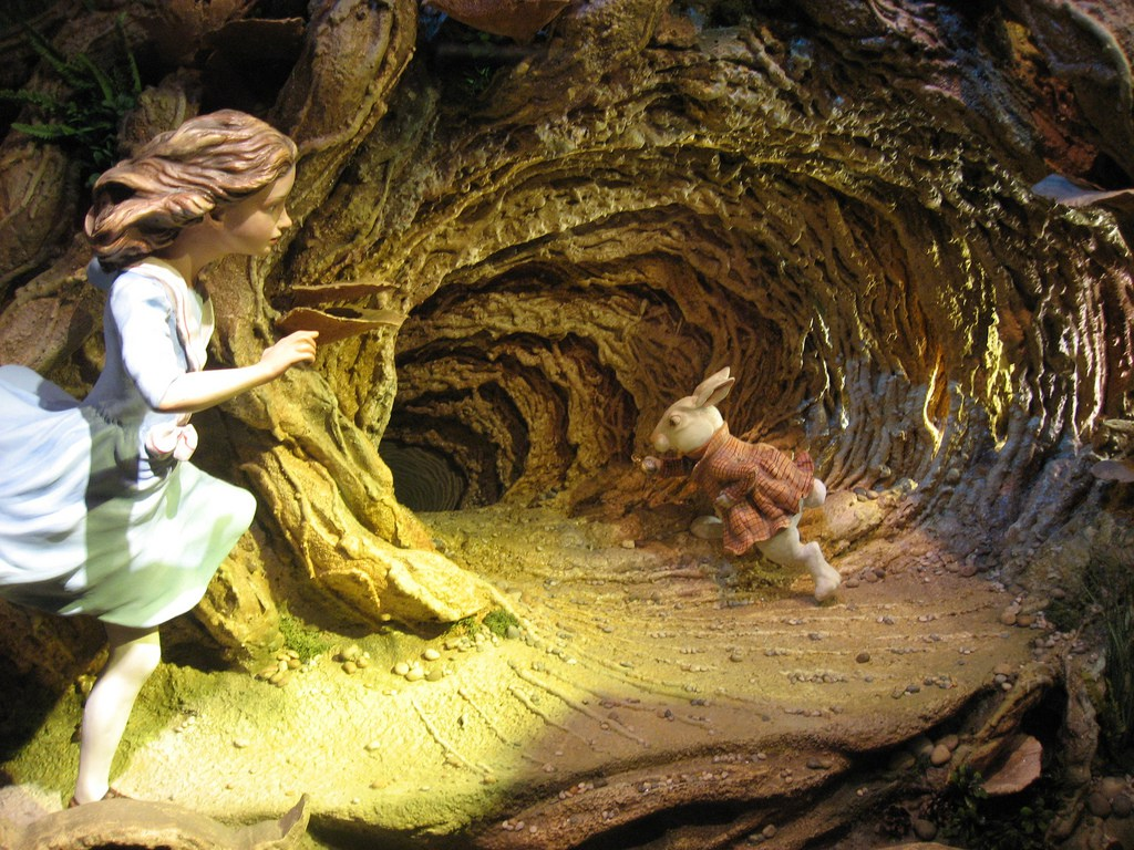 Image result for alice going down the rabbit hole