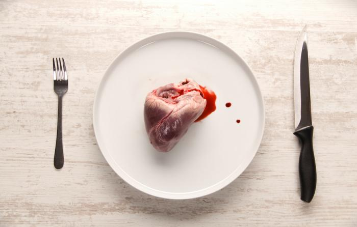 Heart on a plate with cutlery]
